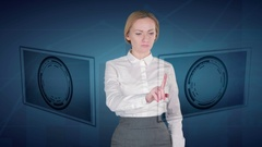 Business woman makes a financial analysis on touch screens. euro, Ruble Russia Stock Footage