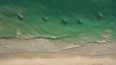 Aerial view of beach and boats Stock Footage