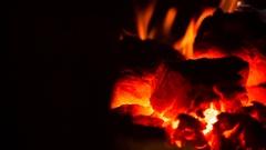 Hot coals close-up Stock Footage
