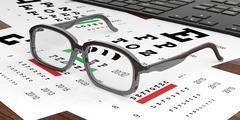 Eye Glasses SNELLEN CHART background Stock Illustration