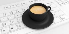 Coffee cup black keyboard white background Stock Illustration