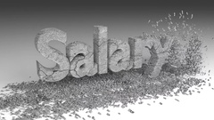 3D SALARY word chipped out of a stone texture Stock Footage
