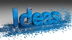 3D IDEAS word chipped out of a blue wood box animation Stock Footage