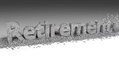 3D RETIREMENT word chipped out of a stone texture Stock Footage