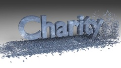 3D CHARITY word chipped out of a old metal block Stock Footage