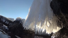 Icicles on the coastal rocks in the Black Sea Stock Footage