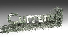 3D CURRENCY word chipped out of a one dollar note box animation Stock Footage
