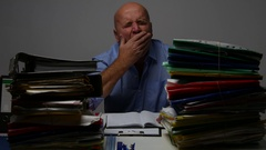 Tired Businessman Working Late in Office Fall Asleep After a Long Day Job. Stock Footage