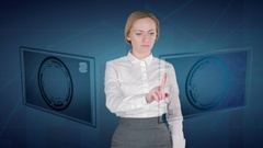 Business woman makes a financial analysis on touch screens. dollar Indian Rupee Stock Footage