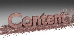 3D CONTENT word chipped out of a brick wall animation Stock Footage