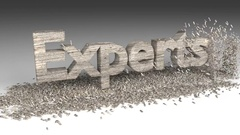 3D EXPERTS word chipped out of a old wood block Stock Footage