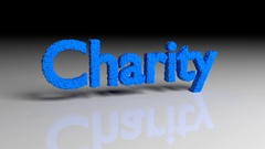 Dissolve animation of word CHARITY in blue Stock Footage