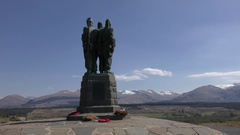 Spean Bridge commando memorial with views of Ben Nevis and Aonach Mòr Stock Footage