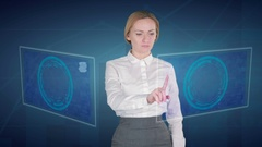 Business woman makes financial analysis on touch screens. dollar, JPY, Yen, Stock Footage