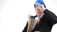 Building Planner Engineer Thirsted Hydrate Drinking Fresh Water. Stock Footage