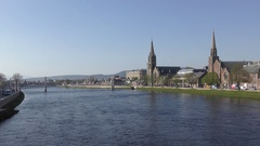View of Inverness - the capital of the Highlands, Scotland Stock Footage
