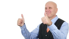 Satisfied Businessman Smiling Showing Thumbs Up Good Job Hand Gesture. Stock Footage