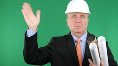 Technical Manager with Building Plans Make Welcome Salute Hand Gesture. Stock Footage