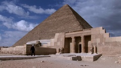 The Great Pyramid of Keops with the Mortuary Temple of Khufu Giza medium shot Stock Footage