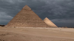 The Great Pyramid of Khafre and Menkaure in Giza Cairo Pan Stock Footage