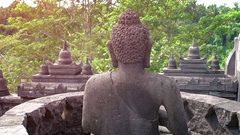 Rear Aspect of a Buddha Statue in Taman Nusa Indonesian Cultural Park Stock Footage