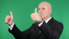 Double Thumbs Up Hands Gesture Serious Politician in Interview Presentation. Stock Footage