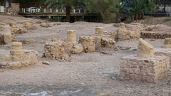 Ruins of ancient Ayla - medieval islamic city in present Aqaba city, Jordan Stock Footage