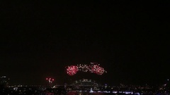 New Years Eve Countdown & Fireworks, Sydney Harbor Bridge Stock Footage