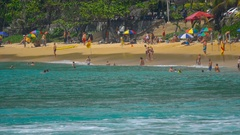 Waves on the beach of Nai Harn, Thailand Stock Footage
