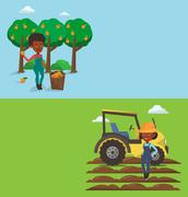 Two agricultural banners with space for text Stock Illustration