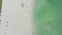 Miami Overhead Aerial View Sunny Warm Weather Day Looking Down on South Beach Stock Footage
