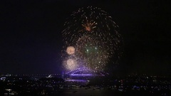 Sydney Harbour Bridge New Years Eve Fireworks Stock Footage