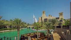 Manmade, Urban Lake at Luxurious Resort in Dubai Stock Footage