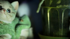 Small ceramic figurine of a cat in a sweater at night Stock Footage