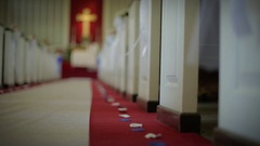 Wedding Aisle Slider Cross (push in) | Christian Church, shallow depth of field Stock Footage