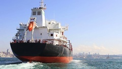 Cargo ship or freighter is any sort of vessel that carries cargo & materials Stock Footage