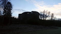 Timelapse of Raseborg medieval castle, fortress ruins, at a cloudy autumn d.. Stock Footage