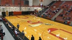 High school basketball team entering the gymnasium Stock Footage