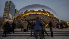 Time Lapse of the Bean/Cloud Gate in Chicago (1080p, 24 Fps) Stock Footage