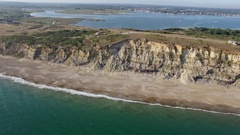 Aerial footage of the south coast of England near Bournemouth Stock Footage