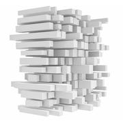 Rendering high tech construction made of square tubes on white background Stock Illustration