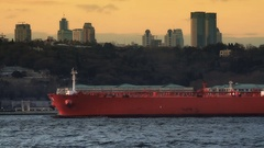 Crude oil tanker ship sails past Istanbul city skyline Stock Footage