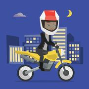 Woman riding motorcycle at night Stock Illustration