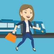 Businesswoman at train station vector illustration Piirros