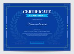 Certificate of achievement template with award laurel on blue background Stock Illustration