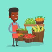Supermarket worker with box full of apples Stock Illustration