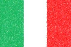 Flag of Italy background o texture, color pencil effect. Stock Illustration