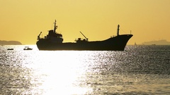 Silhouette of a ship anchored in Marmara Sea, towards Islands Stock Footage
