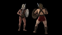 Gladiators fighting,loop, animation, Alpha channel, transparent background Stock Footage