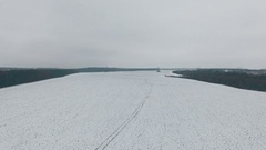 Winter fields aerial panoramic view on snow desert Stock Footage